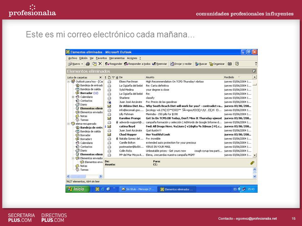 15Contacto – egomez@profesionalia.net Este es mi correo electrónico cada mañana...