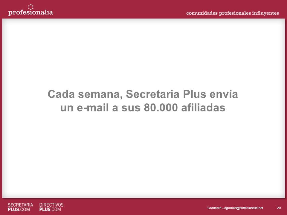 20Contacto – egomez@profesionalia.net Cada semana, Secretaria Plus envía un e-mail a sus 80.000 afiliadas