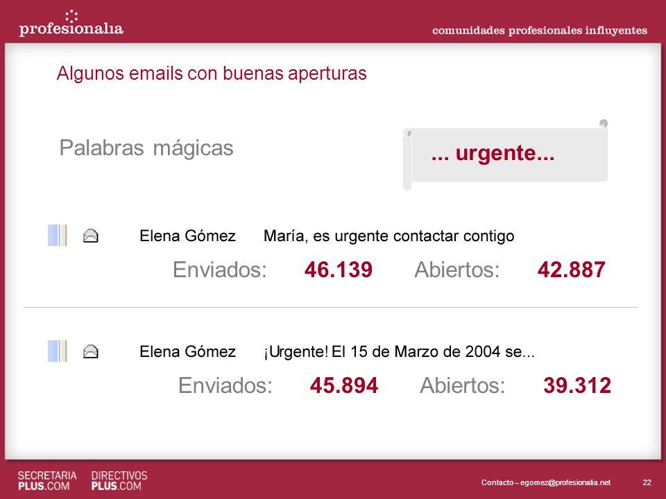 22Contacto – egomez@profesionalia.net Enviados:Abiertos:42.88746.139 Enviados:Abiertos:39.31245.894 Palabras mágicas... urgente... Algunos emails con