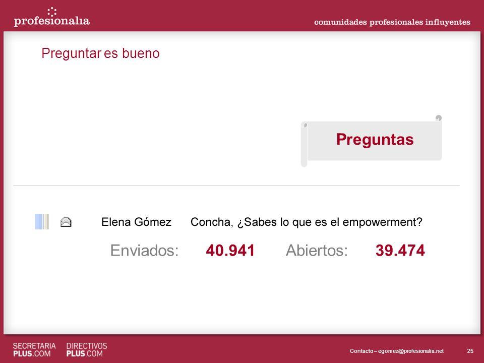 25Contacto – egomez@profesionalia.net Enviados:Abiertos:39.47440.941 Preguntas Preguntar es bueno