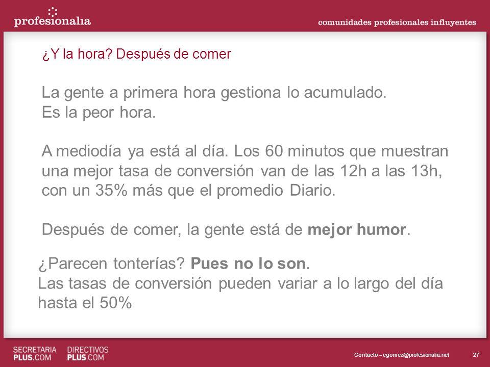 27Contacto – egomez@profesionalia.net La gente a primera hora gestiona lo acumulado. Es la peor hora. A mediodía ya está al día. Los 60 minutos que mu