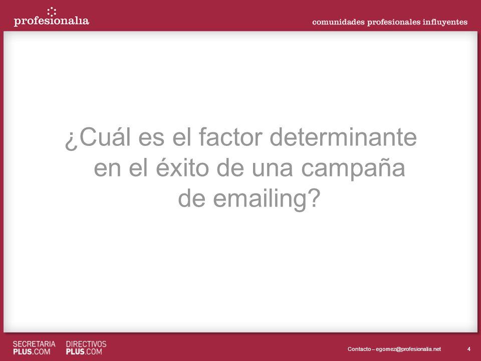 4Contacto – egomez@profesionalia.net ¿Cuál es el factor determinante en el éxito de una campaña de emailing