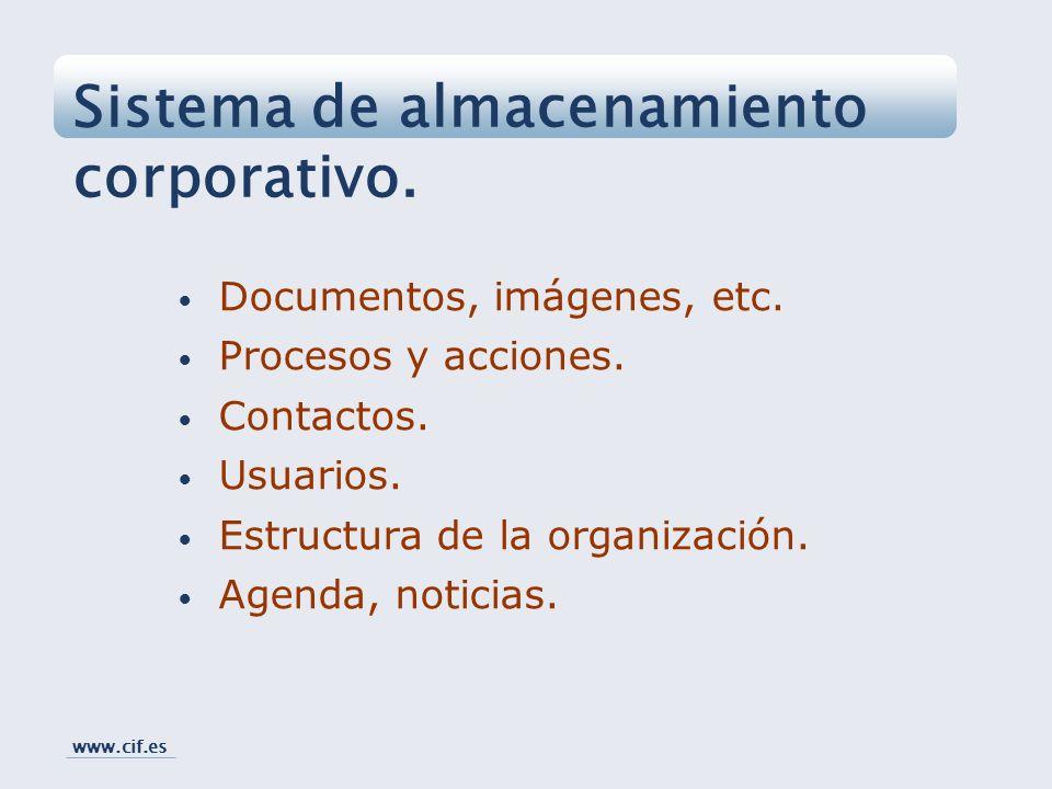 Documentos, imágenes, etc. Procesos y acciones. Contactos. Usuarios. Estructura de la organización. Agenda, noticias. Sistema de almacenamiento corpor