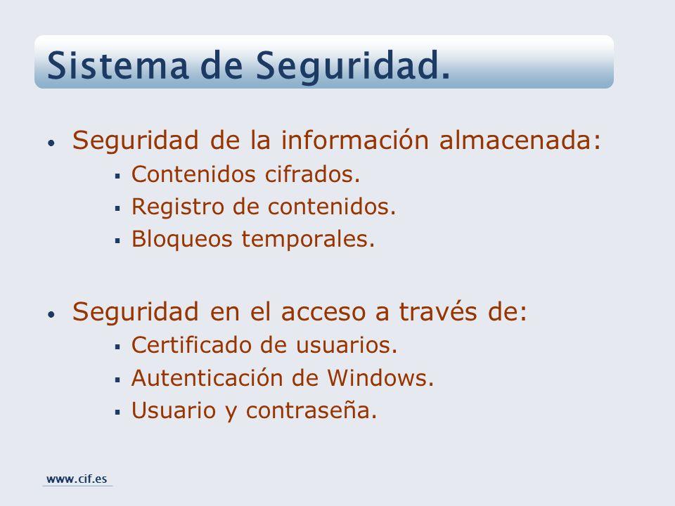 Seguridad de la información almacenada: Contenidos cifrados. Registro de contenidos. Bloqueos temporales. Seguridad en el acceso a través de: Certific