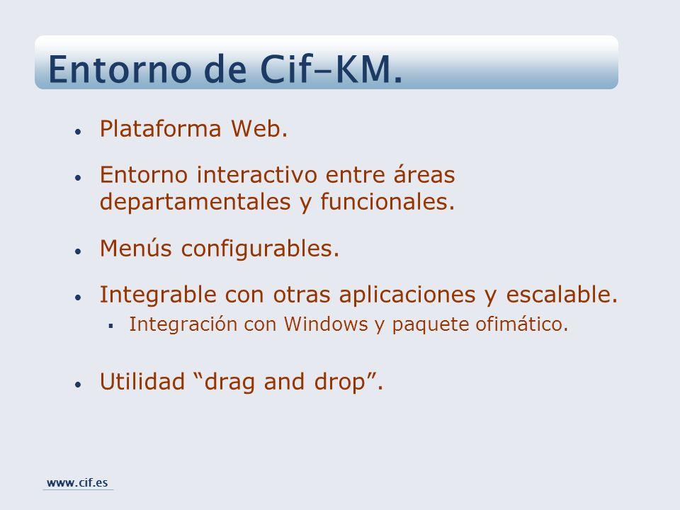 Plataforma Web. Entorno interactivo entre áreas departamentales y funcionales. Menús configurables. Integrable con otras aplicaciones y escalable. Int