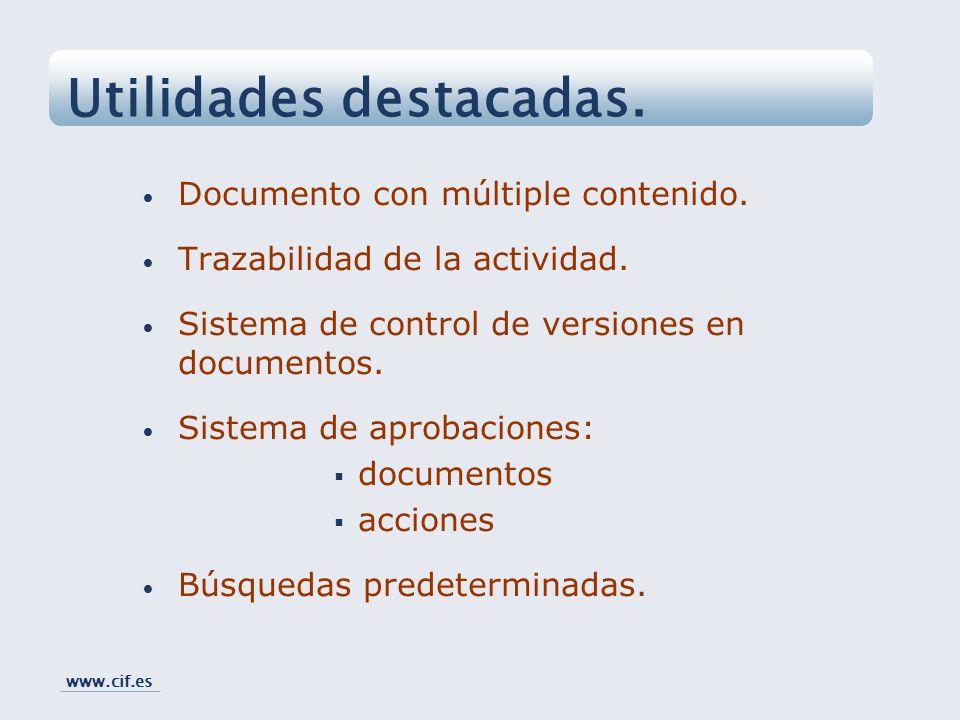 Documento con múltiple contenido. Trazabilidad de la actividad. Sistema de control de versiones en documentos. Sistema de aprobaciones: documentos acc