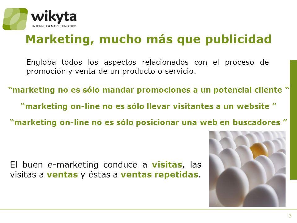 3 marketing no es sólo mandar promociones a un potencial cliente marketing on-line no es sólo llevar visitantes a un website marketing on-line no es sólo posicionar una web en buscadores Marketing, mucho más que publicidad El buen e-marketing conduce a visitas, las visitas a ventas y éstas a ventas repetidas.