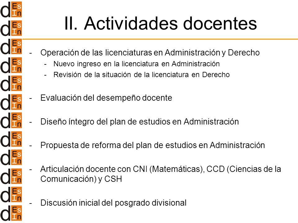 II. Actividades docentes -Operación de las licenciaturas en Administración y Derecho -Nuevo ingreso en la licenciatura en Administración -Revisión de