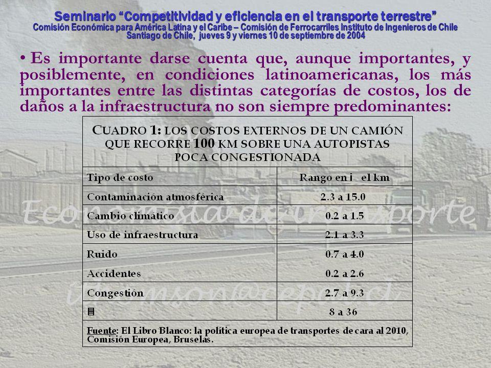 Seminario Competitividad y eficiencia en el transporte terrestre Comisión Económica para América Latina y el Caribe – Comisión de Ferrocarriles Instituto de Ingenieros de Chile Santiago de Chile, jueves 9 y viernes 10 de septiembre de 2004 UNA CUANTIFICACIÓN DE LOS COSTOS Existen dos maneras, conceptualmente diferentes entre si, de determinar la incidencia de los costos externos en el sector transporte, mediante: (i) el análisis de costos marginales, y; (ii) la asignación de costos entre grupos.
