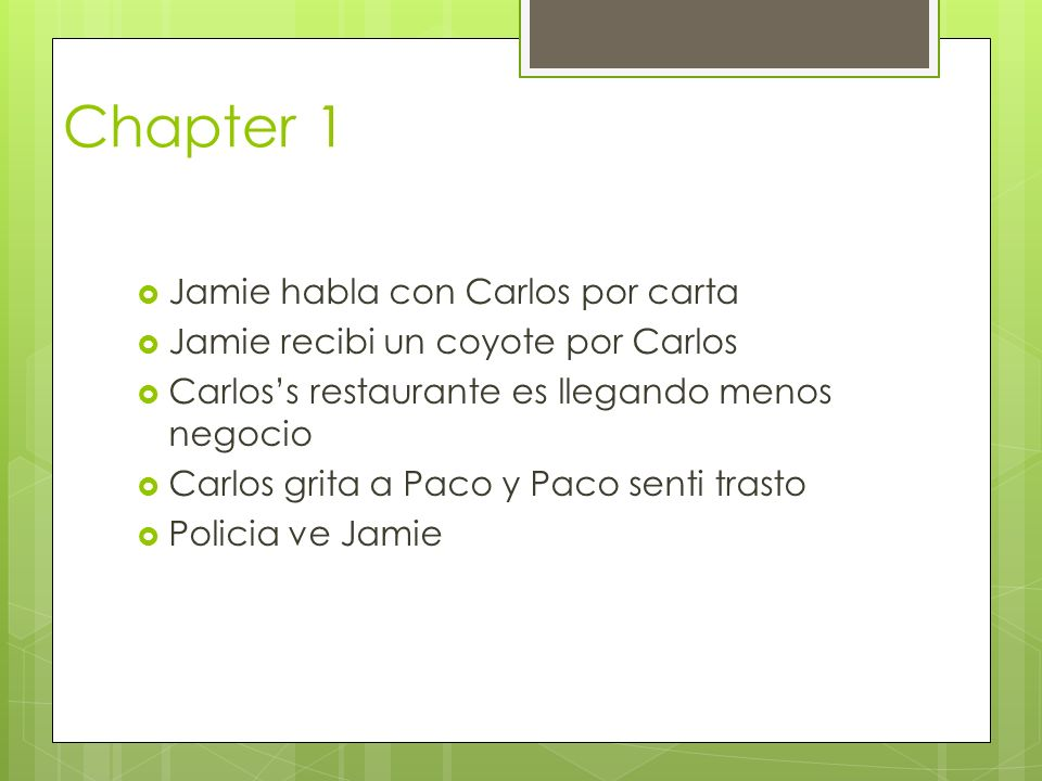 Chapter 1 Jamie habla con Carlos por carta Jamie recibi un coyote por Carlos Carloss restaurante es llegando menos negocio Carlos grita a Paco y Paco