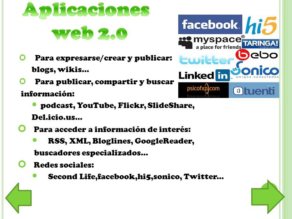 Para expresarse/crear y publicar: blogs, wikis... Para publicar, compartir y buscar información: podcast, YouTube, Flickr, SlideShare, Del.icio.us...