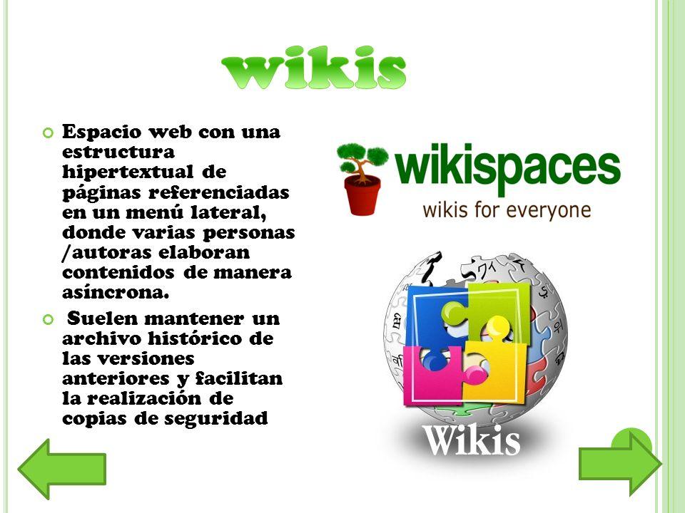Espacio web con una estructura hipertextual de páginas referenciadas en un menú lateral, donde varias personas /autoras elaboran contenidos de manera