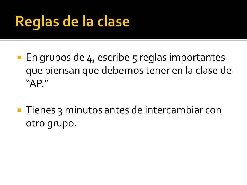 En grupos de 4, escribe 5 reglas importantes que piensan que debemos tener en la clase de AP.