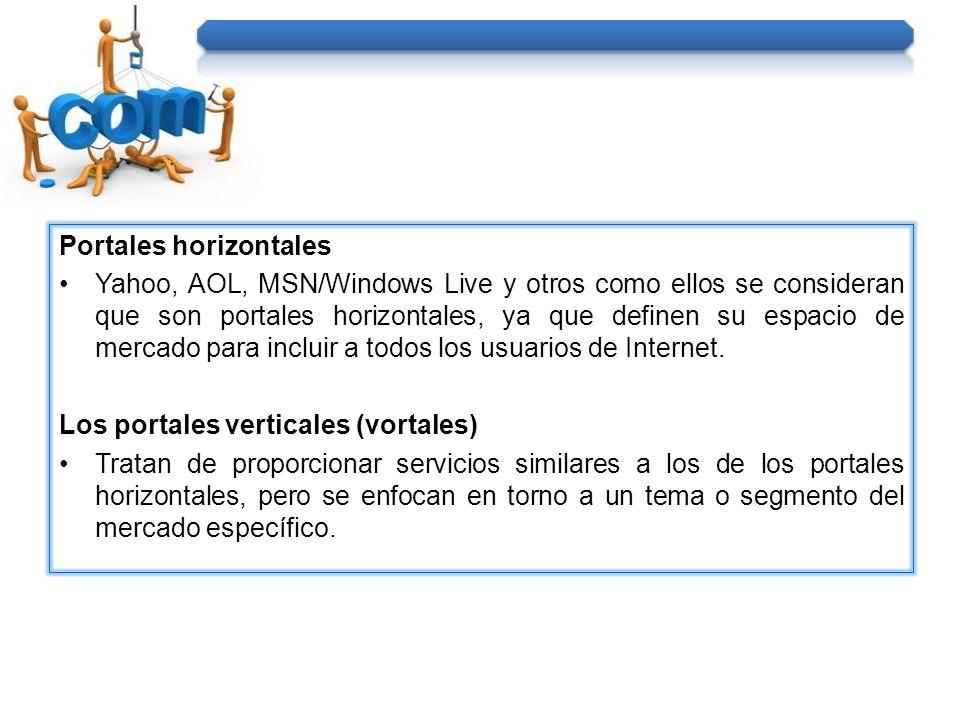 Portales horizontales Yahoo, AOL, MSN/Windows Live y otros como ellos se consideran que son portales horizontales, ya que definen su espacio de mercad