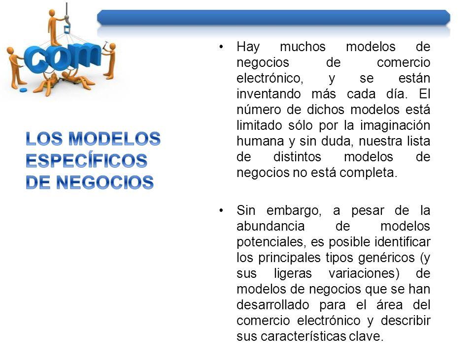 Hay muchos modelos de negocios de comercio electrónico, y se están inventando más cada día. El número de dichos modelos está limitado sólo por la imag