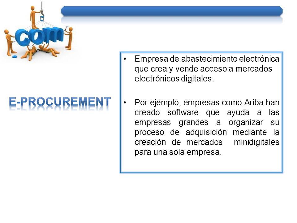 Empresa de abastecimiento electrónica que crea y vende acceso a mercados electrónicos digitales. Por ejemplo, empresas como Ariba han creado software