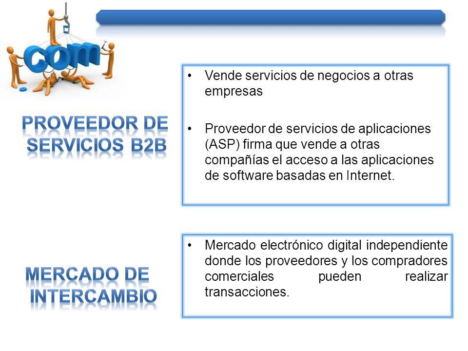 Vende servicios de negocios a otras empresas Proveedor de servicios de aplicaciones (ASP) firma que vende a otras compañías el acceso a las aplicaciones de software basadas en Internet.