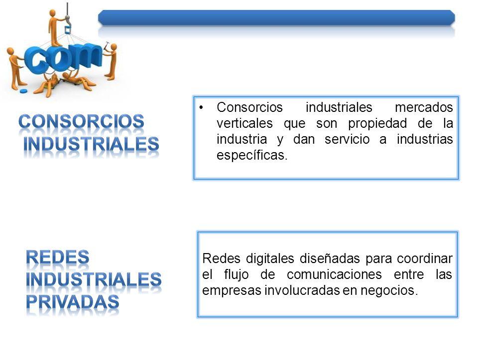 Consorcios industriales mercados verticales que son propiedad de la industria y dan servicio a industrias específicas. Redes digitales diseñadas para