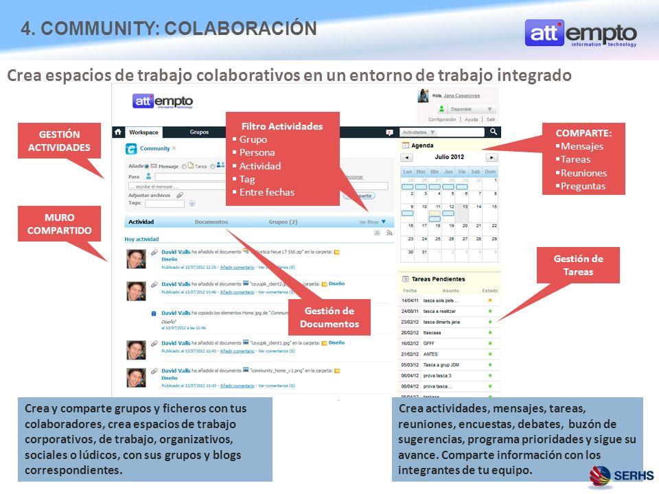 Crea y comparte grupos y ficheros con tus colaboradores, crea espacios de trabajo corporativos, de trabajo, organizativos, sociales o lúdicos, con sus grupos y blogs correspondientes.