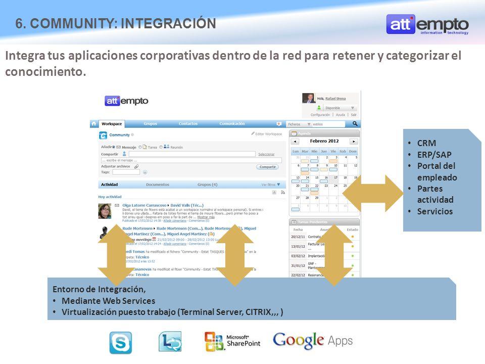 Entorno de Integración, Mediante Web Services Virtualización puesto trabajo (Terminal Server, CITRIX,,, ) Integra tus aplicaciones corporativas dentro de la red para retener y categorizar el conocimiento.