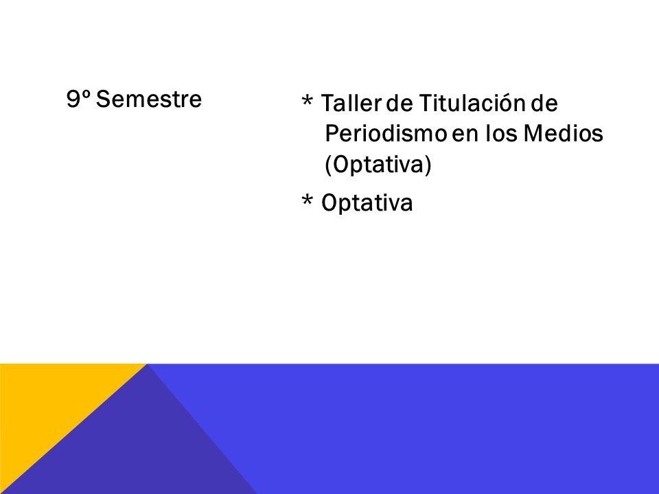 9º Semestre * Taller de Titulación de Periodismo en los Medios (Optativa) * Optativa
