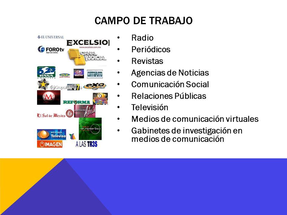 Radio Periódicos Revistas Agencias de Noticias Comunicación Social Relaciones Públicas Televisión Medios de comunicación virtuales Gabinetes de invest