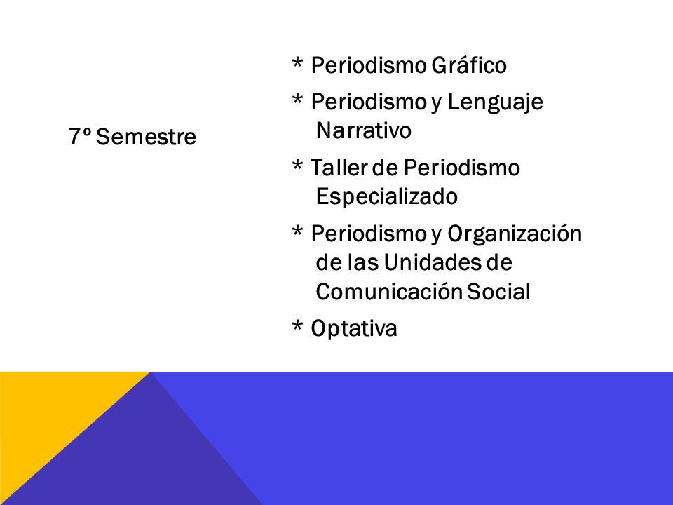 7º Semestre * Periodismo Gráfico * Periodismo y Lenguaje Narrativo * Taller de Periodismo Especializado * Periodismo y Organización de las Unidades de