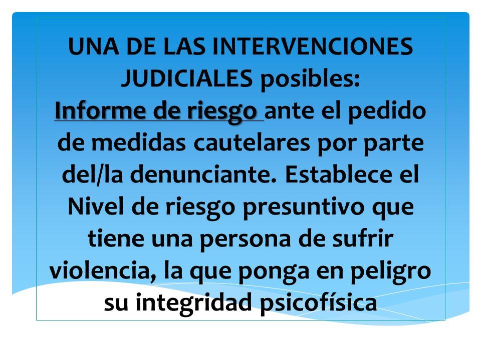 Informe de riesgo UNA DE LAS INTERVENCIONES JUDICIALES posibles: Informe de riesgo ante el pedido de medidas cautelares por parte del/la denunciante.