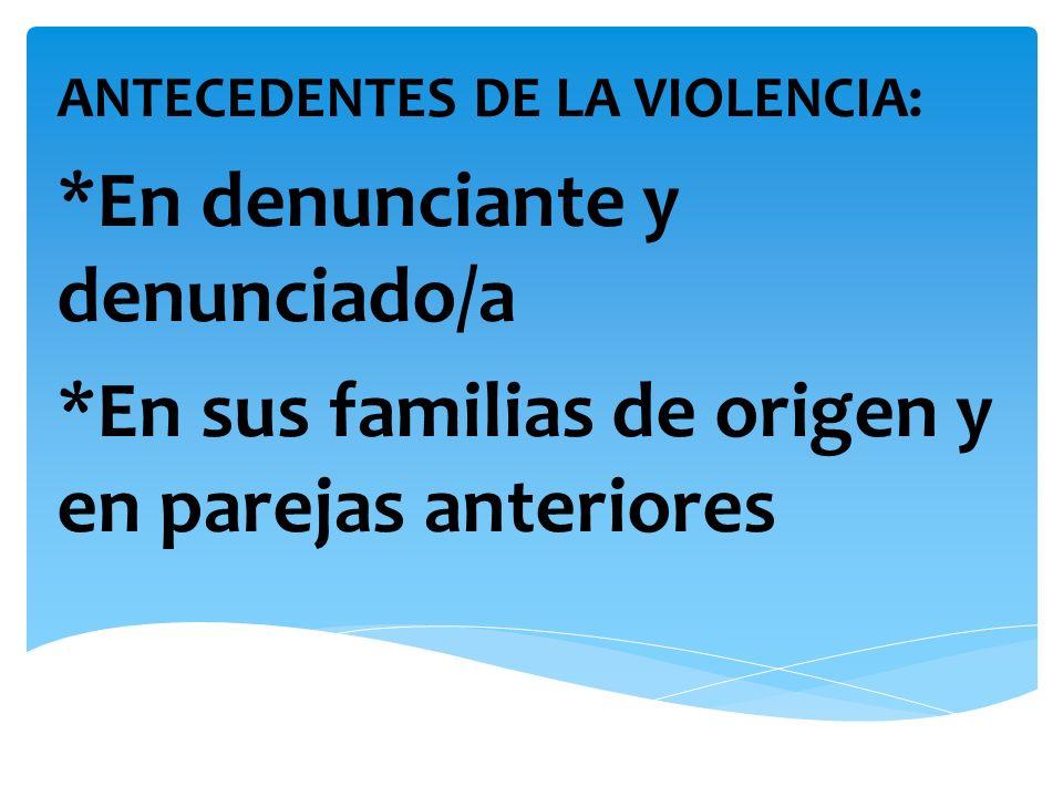 ANTECEDENTES DE LA VIOLENCIA: *En denunciante y denunciado/a *En sus familias de origen y en parejas anteriores