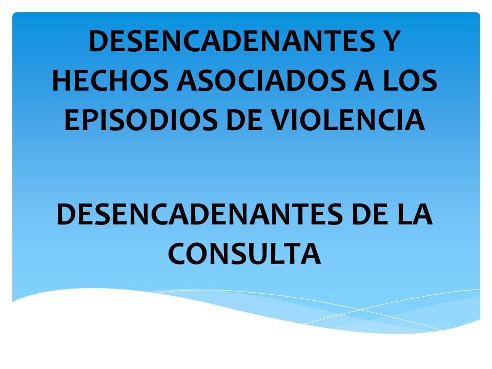 DESENCADENANTES Y HECHOS ASOCIADOS A LOS EPISODIOS DE VIOLENCIA DESENCADENANTES DE LA CONSULTA