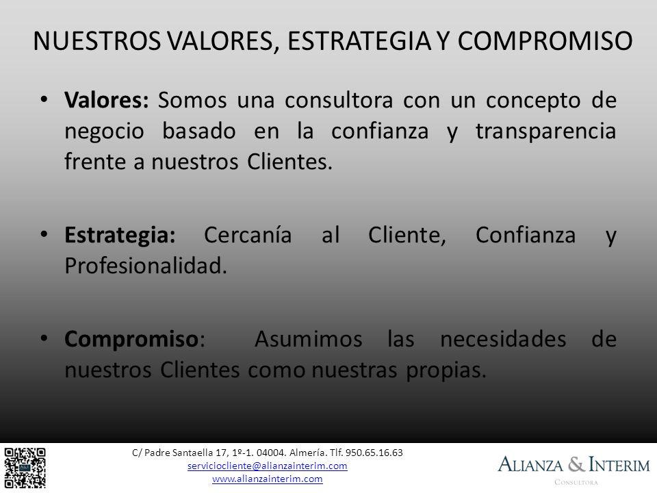 NUESTROS VALORES, ESTRATEGIA Y COMPROMISO C/ Padre Santaella 17, 1º-1. 04004. Almería. Tlf. 950.65.16.63 serviciocliente@alianzainterim.com serviciocl