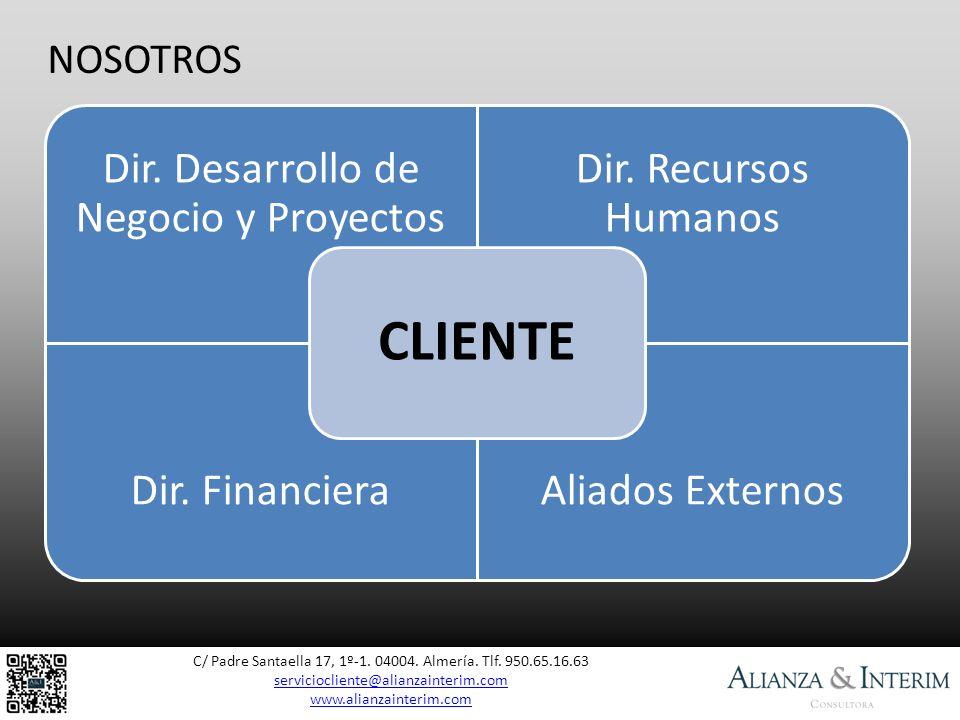 NOSOTROS C/ Padre Santaella 17, 1º-1. 04004. Almería. Tlf. 950.65.16.63 serviciocliente@alianzainterim.com serviciocliente@alianzainterim.com www.alia