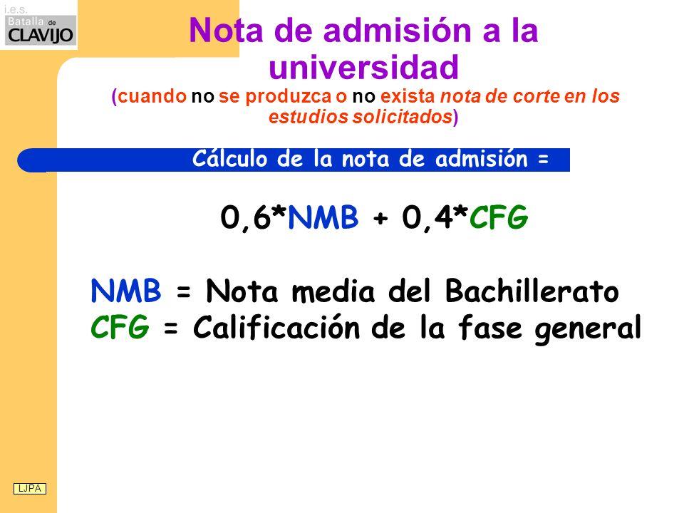 Nota de admisión a la universidad (cuando no se produzca o no exista nota de corte en los estudios solicitados) Cálculo de la nota de admisión = 0,6*NMB + 0,4*CFG NMB = Nota media del Bachillerato CFG = Calificación de la fase general LJPA