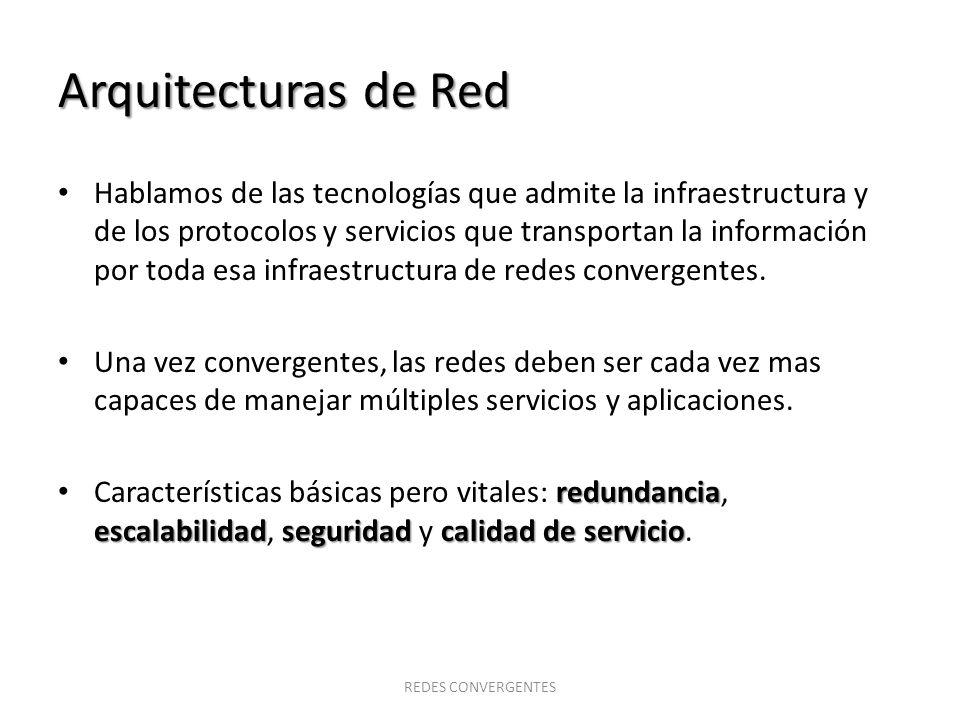 Arquitecturas de Red Redundancia Siempre disponible Tolerancia a fallas (se recupera rápidamente) REDES CONVERGENTES