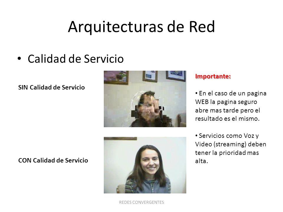 Arquitecturas de Red Calidad de Servicio REDES CONVERGENTES SIN Calidad de Servicio CON Calidad de Servicio Importante: En el caso de un pagina WEB la