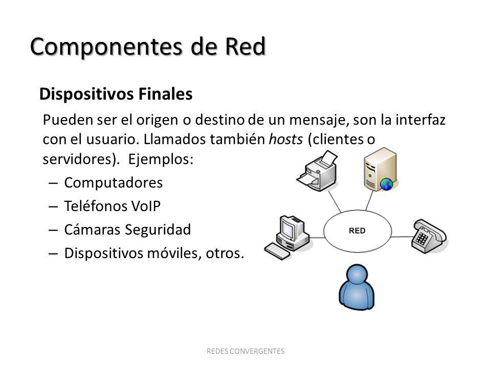 Componentes de Red Dispositivos de Red Proporcionan la conectividad garantizando que los datos fluyan de origen a destino a través de la red.