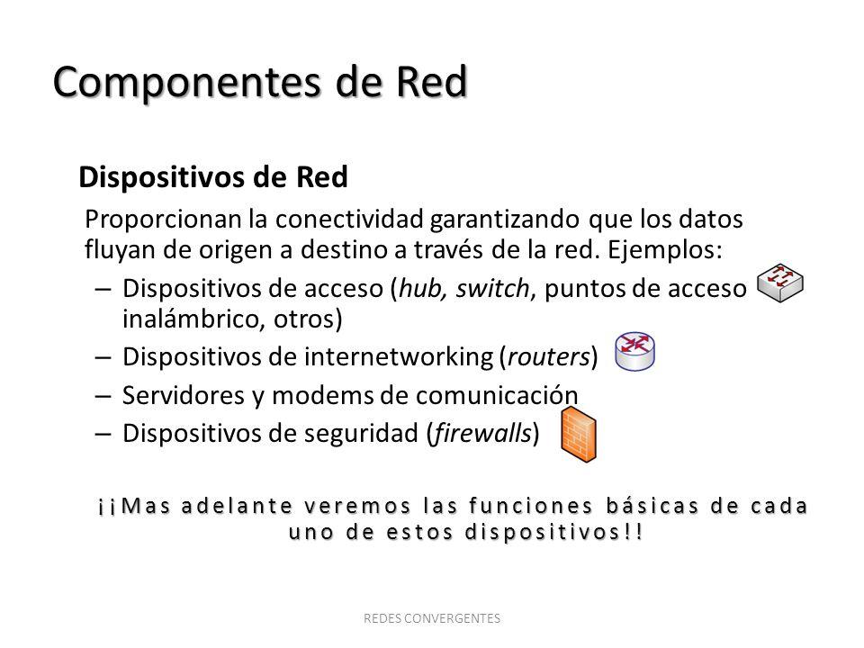Componentes de Red Dispositivos de Red Proporcionan la conectividad garantizando que los datos fluyan de origen a destino a través de la red. Ejemplos