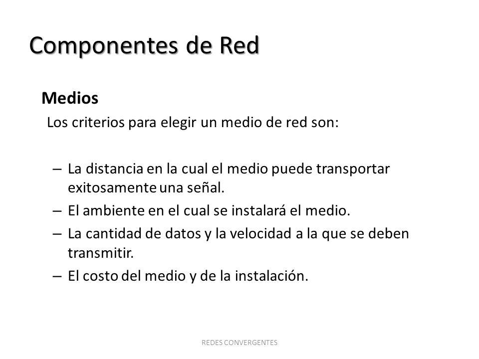 Componentes de Red Medios Los criterios para elegir un medio de red son: – La distancia en la cual el medio puede transportar exitosamente una señal.