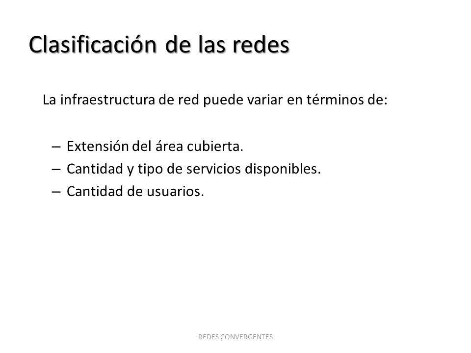 Clasificación de las redes La infraestructura de red puede variar en términos de: – Extensión del área cubierta. – Cantidad y tipo de servicios dispon