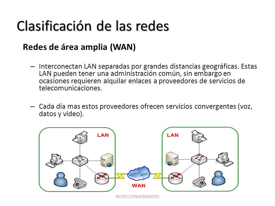 Clasificación de las redes Redes de área amplia (WAN) – Interconectan LAN separadas por grandes distancias geográficas. Estas LAN pueden tener una adm