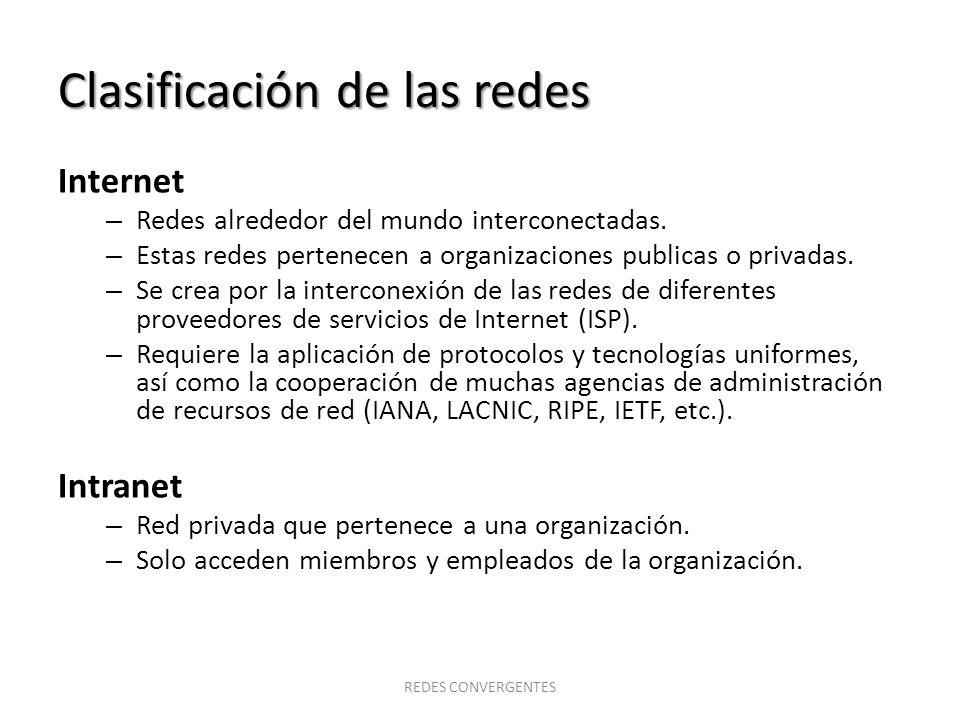 Clasificación de las redes Internet – Redes alrededor del mundo interconectadas. – Estas redes pertenecen a organizaciones publicas o privadas. – Se c