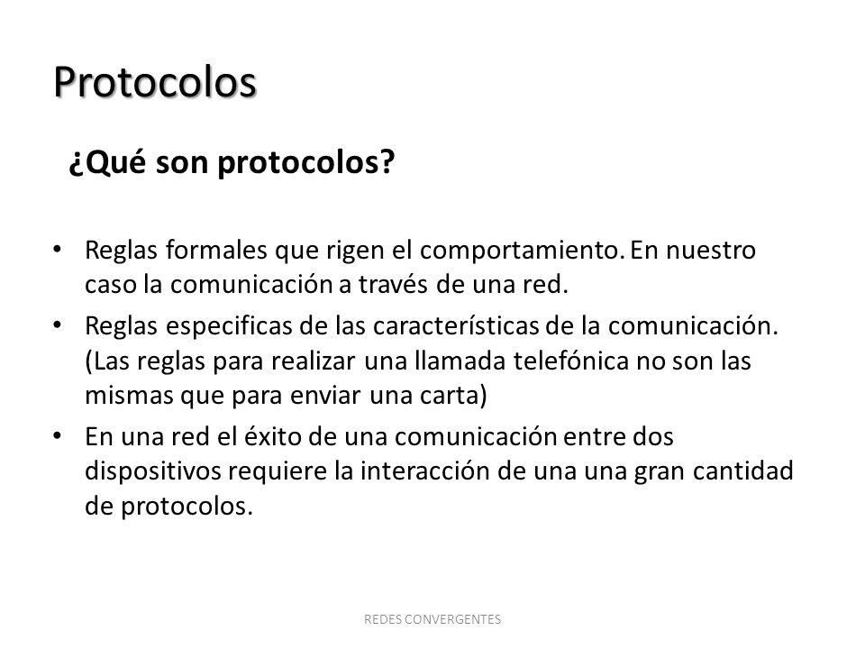 Protocolos ¿Qué son protocolos? Reglas formales que rigen el comportamiento. En nuestro caso la comunicación a través de una red. Reglas especificas d