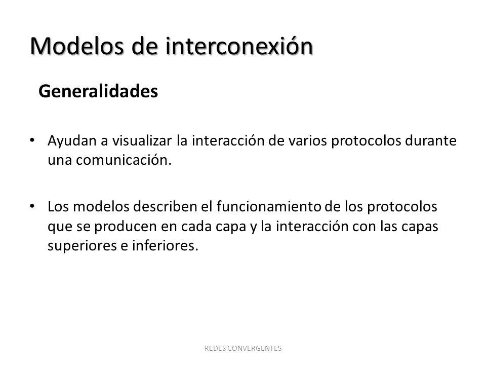 Modelos de interconexión Generalidades Ayudan a visualizar la interacción de varios protocolos durante una comunicación. Los modelos describen el func