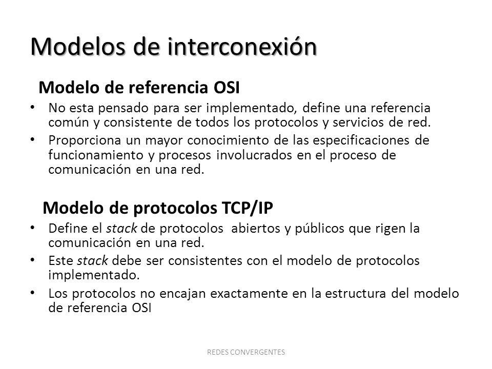 Modelos de interconexión Modelo de referencia OSI No esta pensado para ser implementado, define una referencia común y consistente de todos los protoc
