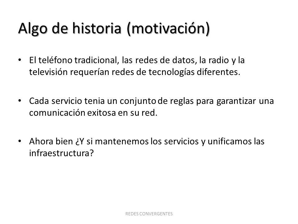 Algo de historia (motivación) El teléfono tradicional, las redes de datos, la radio y la televisión requerían redes de tecnologías diferentes. Cada se