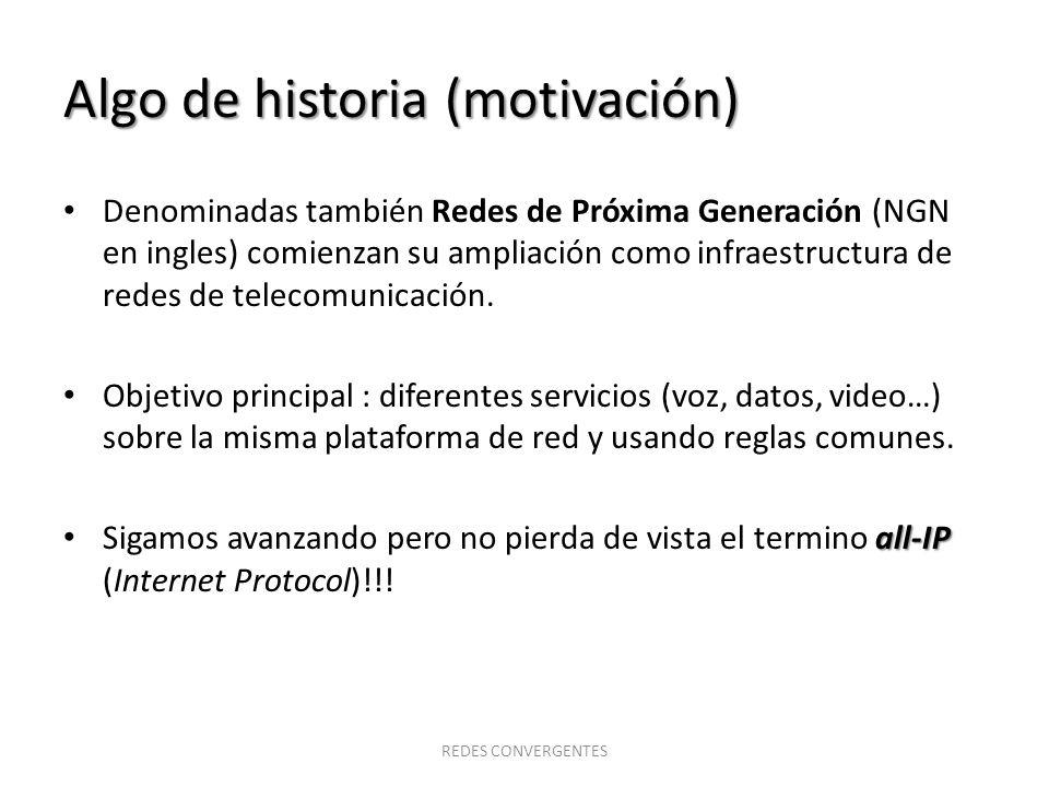 Algo de historia (motivación) Denominadas también Redes de Próxima Generación (NGN en ingles) comienzan su ampliación como infraestructura de redes de