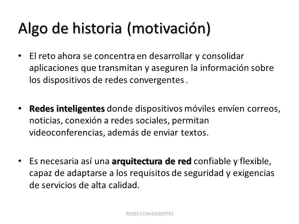 Algo de historia (motivación) El reto ahora se concentra en desarrollar y consolidar aplicaciones que transmitan y aseguren la información sobre los d