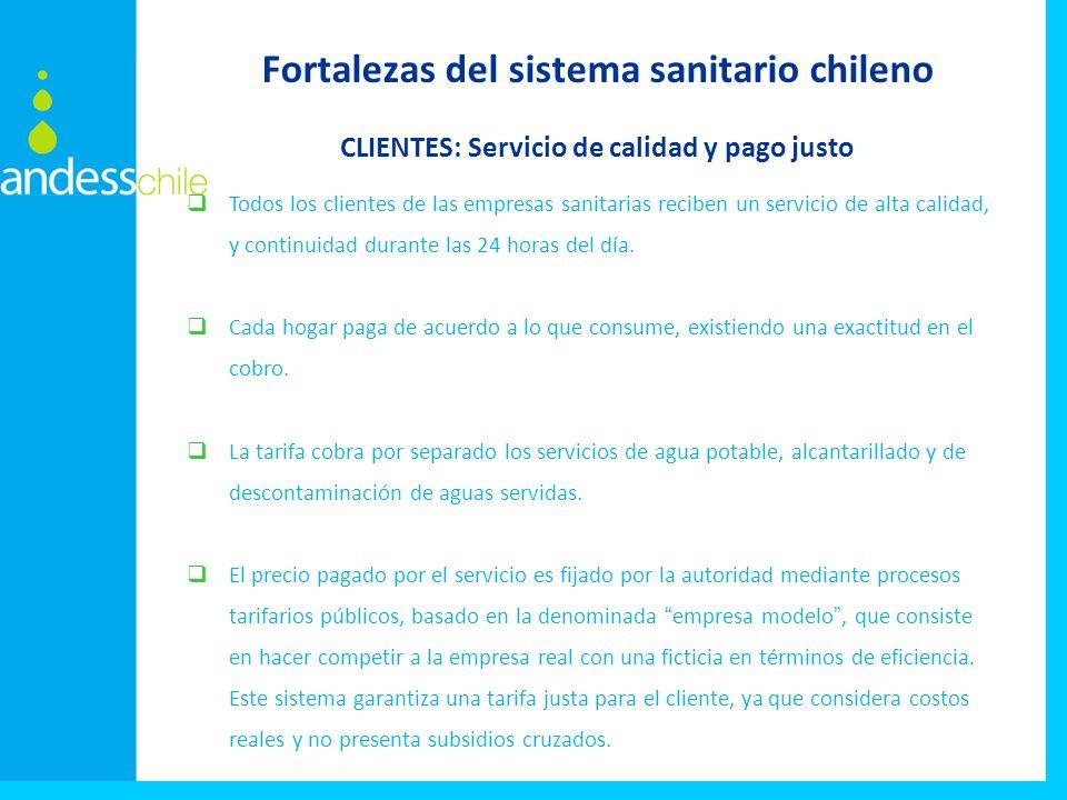 Todos los clientes de las empresas sanitarias reciben un servicio de alta calidad, y continuidad durante las 24 horas del día. Cada hogar paga de acue