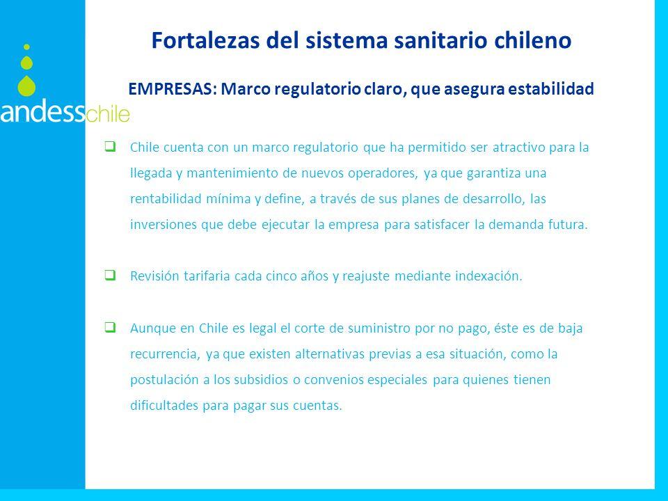 Chile cuenta con un marco regulatorio que ha permitido ser atractivo para la llegada y mantenimiento de nuevos operadores, ya que garantiza una rentabilidad mínima y define, a través de sus planes de desarrollo, las inversiones que debe ejecutar la empresa para satisfacer la demanda futura.