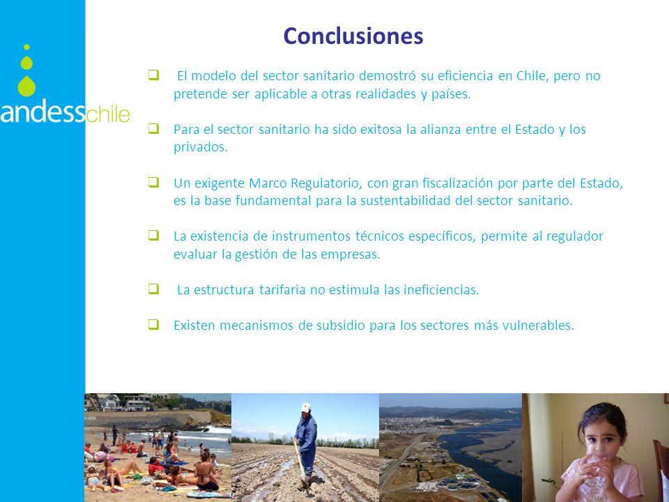 Conclusiones El modelo del sector sanitario demostró su eficiencia en Chile, pero no pretende ser aplicable a otras realidades y países. Para el secto